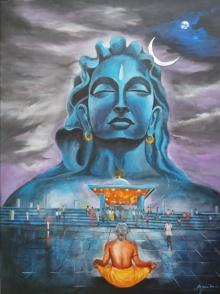 Arjun Das | Acrylic Painting title Shiva Aadiyogi on canvas | Artist Arjun Das Gallery | ArtZolo.com