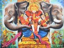 Arjun Das | Acrylic Painting title Shree Ganesha on Canvas | Artist Arjun Das Gallery | ArtZolo.com