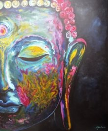 Religious Acrylic Art Painting title 'The Buddha' by artist Arjun Das