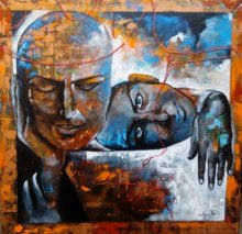 The Caring Couple | Painting by artist Arjun Das | acrylic | Canvas