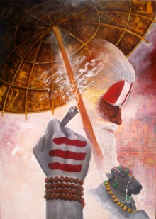 Arjun Das | Acrylic Painting title Varanasi 1 on Canvas | Artist Arjun Das Gallery | ArtZolo.com