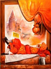 Arjun Das | Acrylic Painting title Worship In Banarash Ghat on Canvas | Artist Arjun Das Gallery | ArtZolo.com