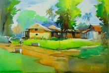 Gulshan Achari | Watercolor Painting title A Hot Day on Paper | Artist Gulshan Achari Gallery | ArtZolo.com