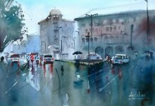 Gulshan Achari | Watercolor Painting title Catching The Last Shower on Paper | Artist Gulshan Achari Gallery | ArtZolo.com