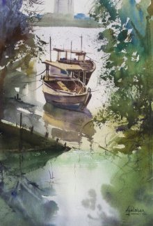 Seascape Watercolor Art Painting title 'Docked Beauties' by artist Gulshan Achari