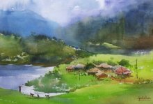 Gulshan Achari | Watercolor Painting title Green Paradise on Paper | Artist Gulshan Achari Gallery | ArtZolo.com