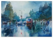 Gulshan Achari | Watercolor Painting title Rainspirations on Paper | Artist Gulshan Achari Gallery | ArtZolo.com