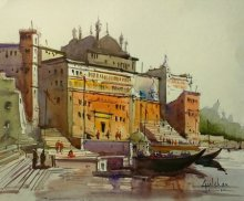 Gulshan Achari | Watercolor Painting title Lets Go For A Walk on Paper | Artist Gulshan Achari Gallery | ArtZolo.com