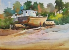 Seascape Watercolor Art Painting title 'My Turn Will Soon Come' by artist Gulshan Achari
