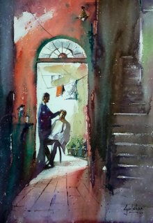 Gulshan Achari | Watercolor Painting title Nostalgia Water on Paper | Artist Gulshan Achari Gallery | ArtZolo.com