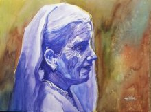 Gulshan Achari | Watercolor Painting title The Listening Ear on Paper | Artist Gulshan Achari Gallery | ArtZolo.com