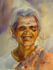Gulshan Achari | Watercolor Painting title The Smile on Paper | Artist Gulshan Achari Gallery | ArtZolo.com