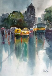 Gulshan Achari | Watercolor Painting title The Yellow Canary on Paper | Artist Gulshan Achari Gallery | ArtZolo.com