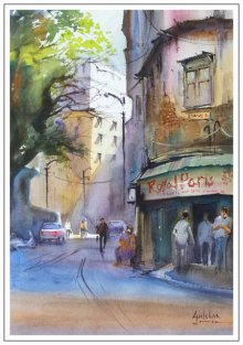 Gulshan Achari | Watercolor Painting title Corner Discussions on Paper | Artist Gulshan Achari Gallery | ArtZolo.com