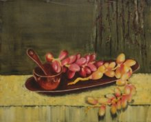 Krupa Shah | Oil Painting title Dates on the tray on Canvas | Artist Krupa Shah Gallery | ArtZolo.com