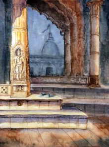 Place Watercolor Art Painting title 'Sun God' by artist Krupa Shah