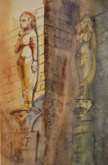 Cityscape Watercolor Art Painting title 'Sculptures at Hathisingh' by artist Krupa Shah