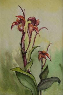 Nature Watercolor Art Painting title 'Kena Flower' by artist Krupa Shah
