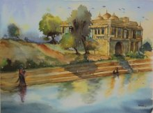 Place Watercolor Art Painting title 'Beauty of Peace' by artist Krupa Shah
