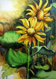 Sun Flower II | Painting by artist Krupa Shah | watercolor | Paper