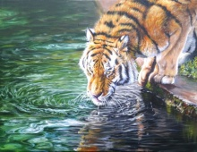 Animals Acrylic Art Painting title 'Thirsty' by artist Nihar Debnath
