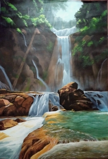 traditional#landscape#forest #indian#painting #sunset #tree #treepainting #bestpainting #sunrise #waterfalls #lady