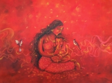 Religious Acrylic Art Painting title Janani-divine lullaby by artist Lisha N T