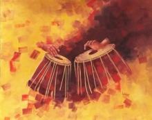 Still-life Acrylic Art Painting title Tabla by artist Lisha N T