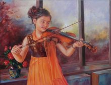 Mahesh RC | Oil Painting title Girl Learning Violin on Canvas | Artist Mahesh RC Gallery | ArtZolo.com