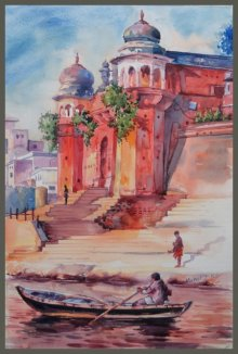 Mahesh RC | Watercolor Painting title Varanasi banaras on Paper | Artist Mahesh RC Gallery | ArtZolo.com
