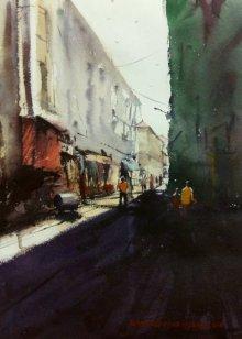 Kiran Gunjkar Paintings | Watercolor Painting - Cst (Bora Bazar) by artist Kiran Gunjkar | ArtZolo.com