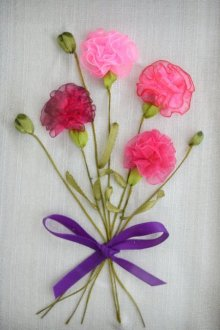 Mohna Paranjape | Carnations Mixed media by artist Mohna Paranjape on Cloth | ArtZolo.com