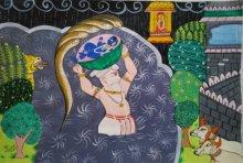 Folk Art Acrylic Art Painting title 'Krishna Janma' by artist Ujwala Chavan