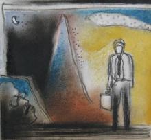 Figurative Mixed-media Art Painting title Long Wait by artist Pradip Kumar Sau