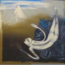 Figurative Acrylic Art Painting title Swim The Way by artist Pradip Kumar Sau
