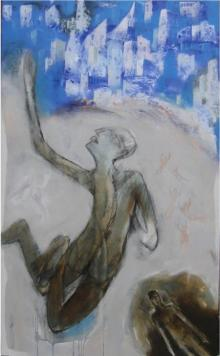 Figurative Acrylic Art Painting title Touch The Sky by artist Pradip Kumar Sau