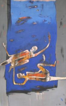 Figurative Acrylic Art Painting title Journey by artist Pradip Kumar Sau