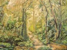 Landscape Oil Art Painting title A Tropical Forest by artist Manjula Dubey