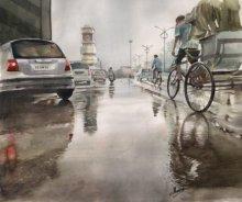 Cityscape Watercolor Art Painting title Ghari Chowk 60 by artist Manish Sharma
