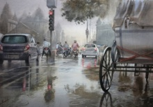 Cityscape Watercolor Art Painting title 'Afterrain' by artist Manish Sharma