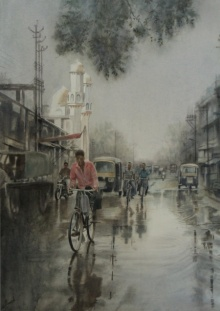 Manish Sharma | Watercolor Painting title Moudhapara on Paper | Artist Manish Sharma Gallery | ArtZolo.com