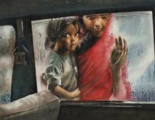 Realistic Watercolor Art Painting title Untold Small by artist Manish Sharma