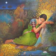 Photorealistic Acrylic Art Painting title Dreaming Woman by artist Baburao (amit) Awate