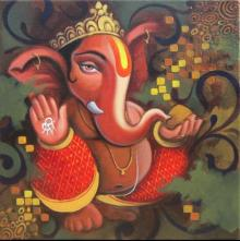 Motivational Acrylic Art Painting title 'Ganesh 1' by artist Baburao (amit) Awate