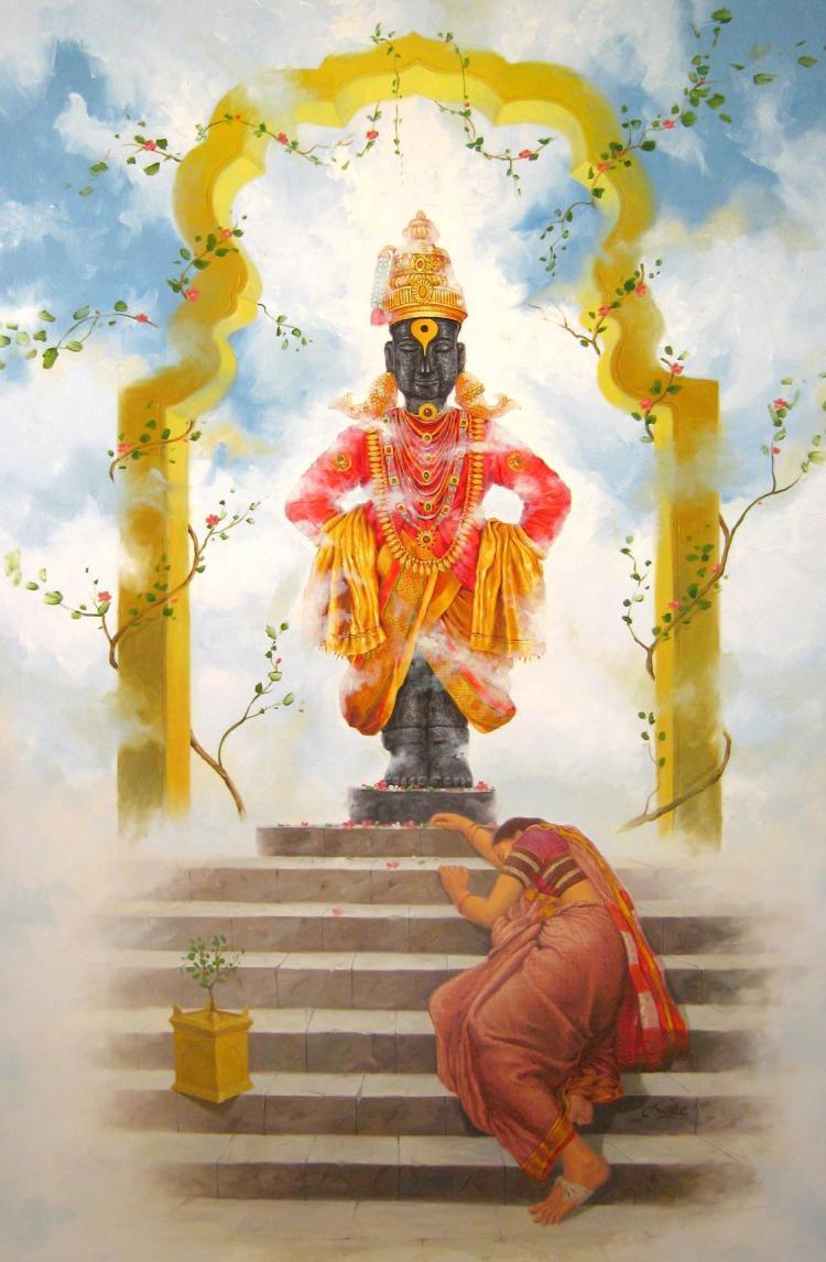 Vitthal Bhakti By Artist Baburao Amit Awate Oil Paintings
