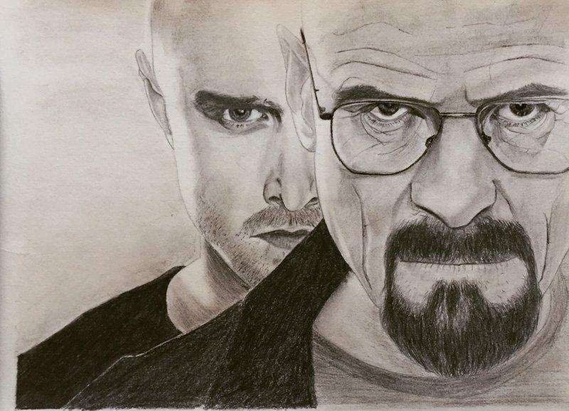 Breaking Bad Drawing Of Walter White & Jesse Pinkman By