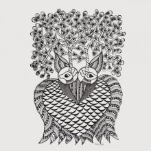 Haunting Owl Gond Art | Painting by artist De Kulture Works | Other | Handmade Paper
