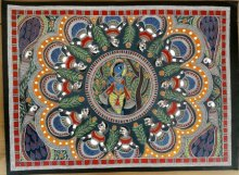 Brindavan Raas Of Krishna Madhubani Art | Painting by artist De Kulture Works | other | Handmade Paper