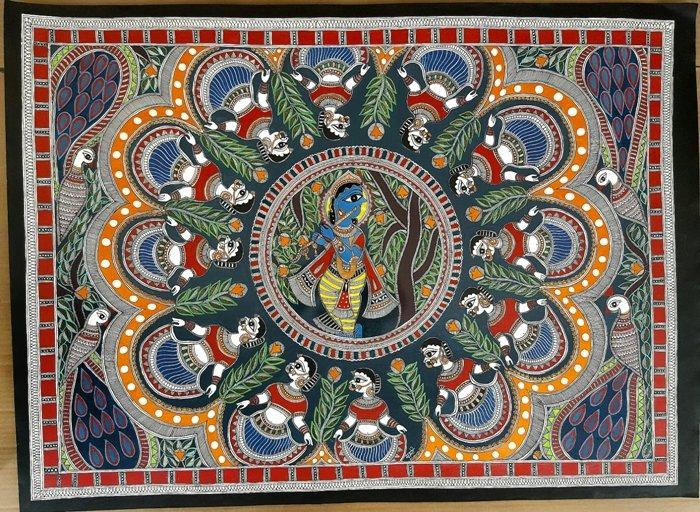 Brindavan Raas Of Krishna Madhubani Art By Artist De
