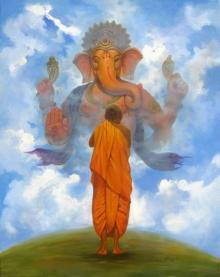 Motivational Acrylic Art Painting title 'Pray Ganesha' by artist Vinayak Potdar